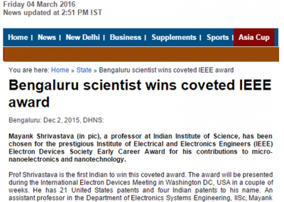 IISc Prof Wins a global award - Deccan Herald