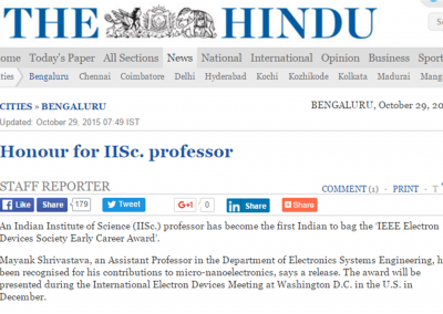 IISc Prof Wins a global award - Hindu