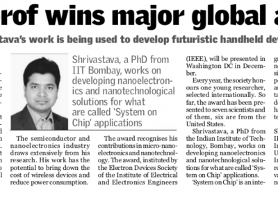 IISc Prof Wins a global award - India Express